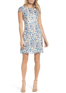 Tahari Floral Vines Embroidered Sheath Dress