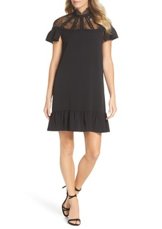 Tahari Flutter Sleeve Lace Yoke Shift Dress (Regular & Petite)