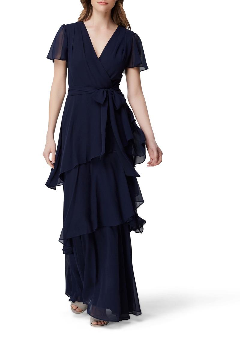 Tahari Flutter Sleeve Tiered Ruffle Chiffon Evening Gown
