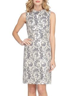 Tahari Foldover Neck Jacquard Sheath Dress (Regular & Petite)