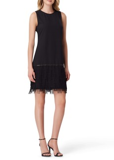 Tahari Fringe Detail Sleeveless Crepe Sheath Dress (Regular & Petite)