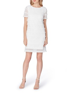 Tahari Fringe Lace Shift Dress