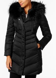 Tahari Fur-Trim Hooded Down Coat