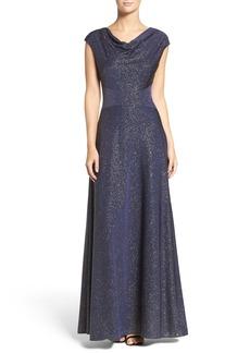 Tahari Glitter Jersey Fit & Flare Gown