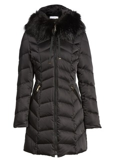 Tahari Gwen Chevron Down & Feather Faux Fur Coat