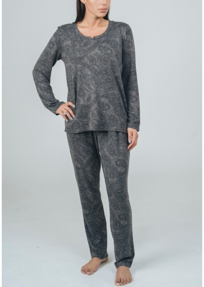 Tahari Hacci Long Sleeve Top and Pant Pajama Set, Online Only