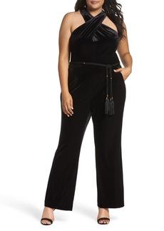 Tahari Halter Velvet Jumpsuit (Plus Size)