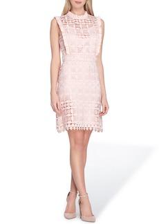 Tahari High Neck Lace Sheath Dress