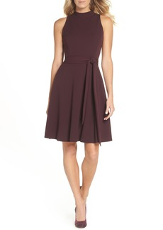 Tahari High Neck Scuba Crepe A-Line Dress (Regular & Petite)