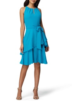 Tahari Hilton Tiered Ruffle Sleeveless Crepe Dress (Regular & Petite)