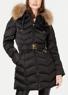 Tahari Hooded Belted Fur-Trim Hooded Down Puffer Coat