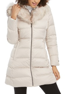 Tahari Hooded Fur-Trim Down Puffer Coat