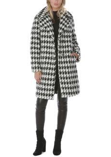 Tahari Houndstooth-Print Faux-Fur Coat