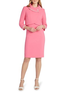 Tahari Imitation Pearl Detail Jacket & Dress Set