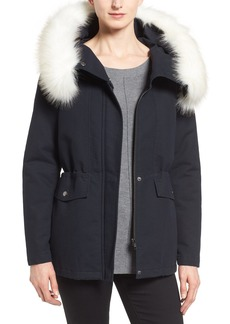 Tahari 'Jackie' Hooded Anorak with Removable Faux Fur Trim (Regular & Petite)
