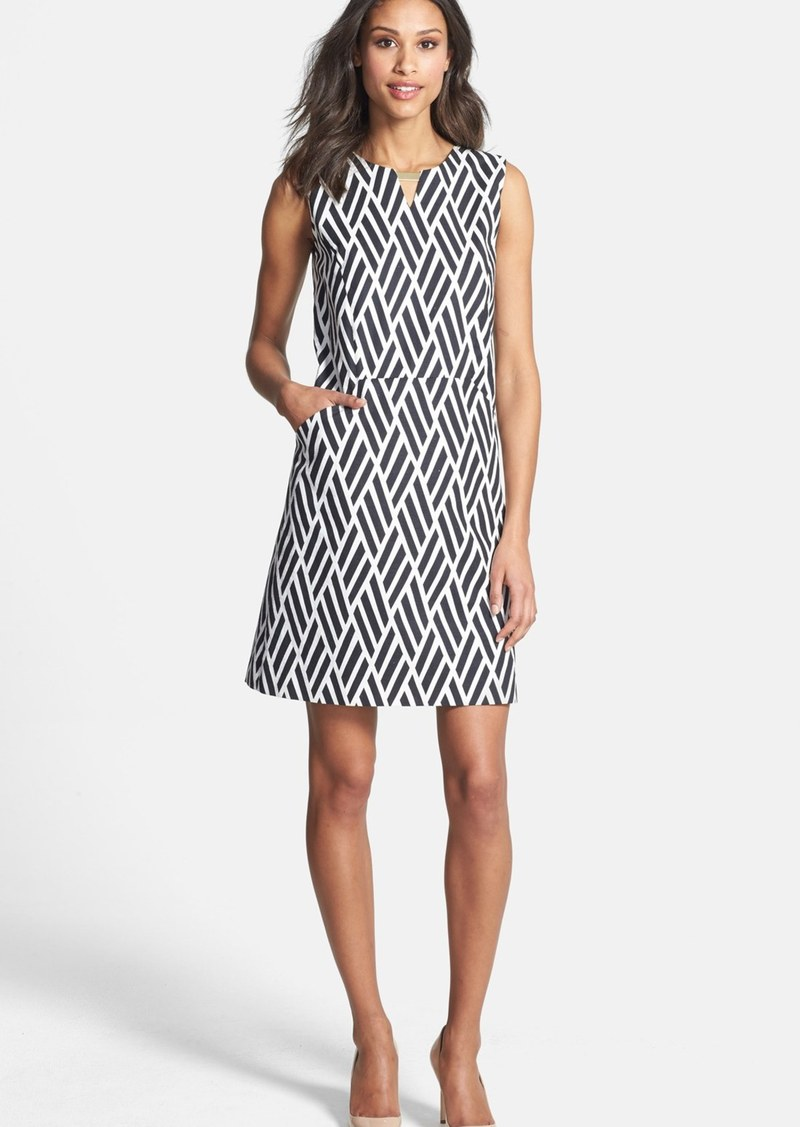 Tahari Jacquard Cotton Blend Shift Dress (Petite)