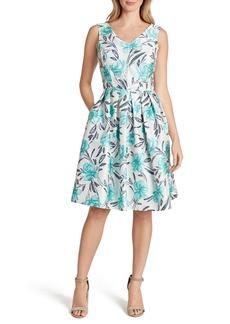 Tahari Jacquard Fit & Flare Sleeveless Dress