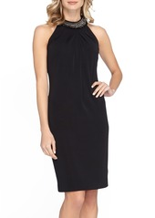 Tahari Jewel Neck Crepe Sheath Dress