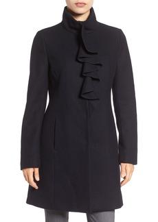 Tahari Kate Ruffle Wool Blend Coat