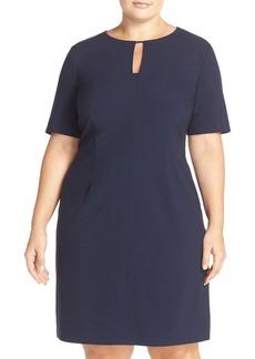 Tahari Keyhole Panel Short Sleeve Sheath Dress (Plus Size)