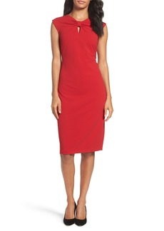 Tahari Knotted Scuba Sheath Dress (Regular & Petite)