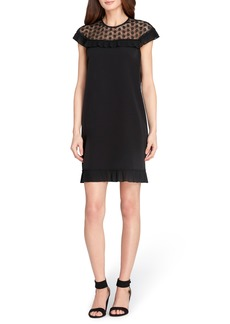 Tahari Lace & Ruffle Trim Shift Dress (Regular & Petite)