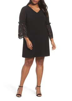 Tahari Lace Bell Sleeve Shift Dress (Plus Size)