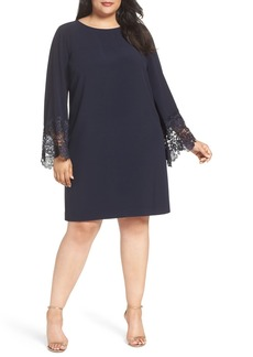Tahari Lace Cuff Crepe Shift Dress (Plus Size)