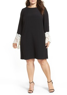 Tahari Lace Cuff Crepe Shift Dress (Plus Size)
