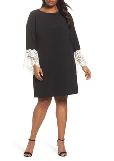 Tahari Lace Cuff Shift Dress (Plus Size)