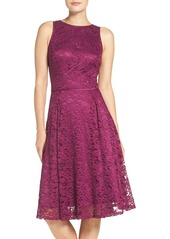 Tahari Lace Fit & Flare Midi Dress