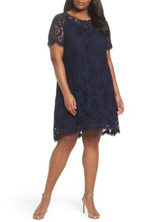 Tahari Lace High/Low Dress (Plus Size)