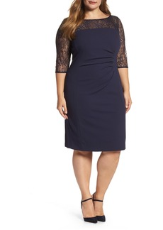 Tahari Lace Illusion Sheath Dress (Plus Size)