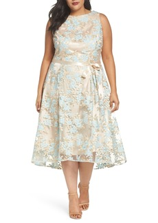 Tahari Lace Sleeveless Dress (Plus Size)