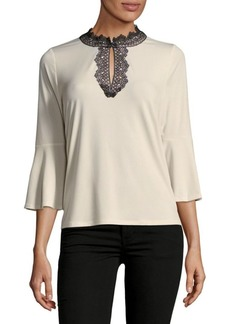 Tahari Lace-Trim Bell-Sleeve Blouse