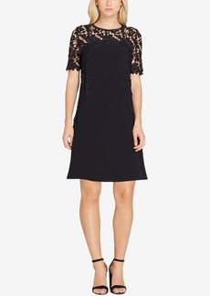 Tahari Asl Lace-Yoke Dress