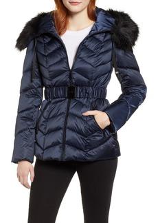 Tahari Leon Faux Fur Trim Belted Puffer Jacket