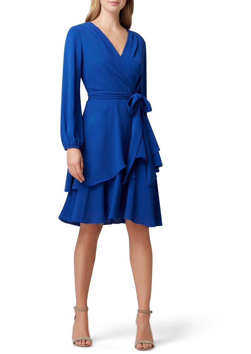 Tahari Long Sleeve Faux Wrap Dress