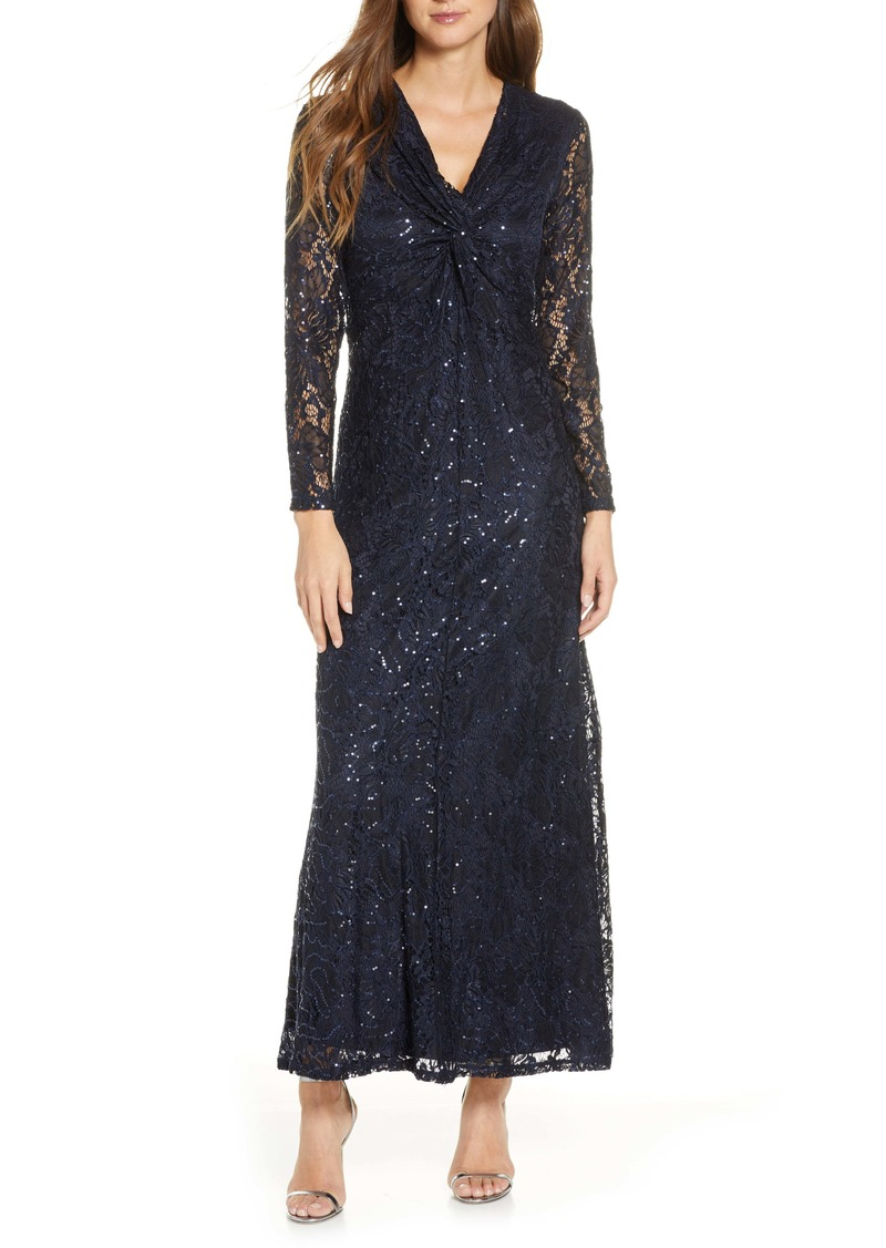 Tahari Long Sleeve Lace Gown
