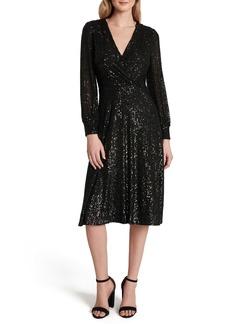 Tahari Long Sleeve Sequin Faux Wrap Dress