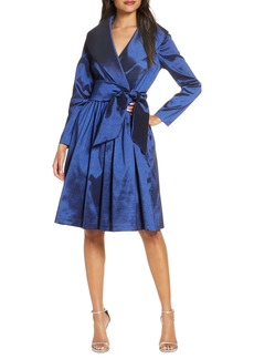 Tahari Long Sleeve Stretch Taffeta Wrap Dress