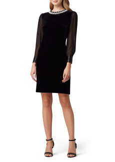 Tahari Long Sleeve Stretch Velvet Cocktail Dress (Regular & Petite)