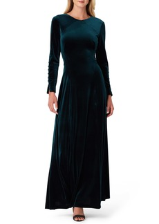 Tahari Long Sleeve Stretch Velvet Gown