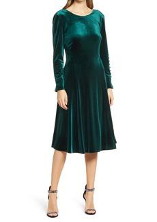 Tahari Long Sleeve Stretch Velvet Gown