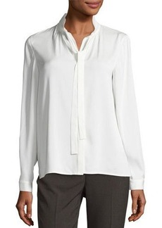 Tahari ASL Long-Sleeve Tie-Neck Top