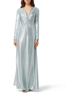 Tahari Long Sleeve Twist Metallic Gown