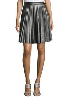 Elie Tahari Louisa Faux-Leather Pleated A-Line Skirt