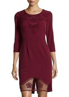 Elie Tahari Marice Lace-Trim Ponte Sheath Dress