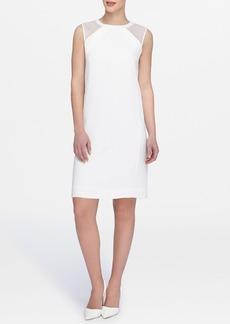 Tahari Mesh Inset Shift Dress (Petite)