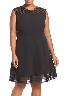 Tahari Mesh Trim Sleeveless Crepe Fit & Flare Dress (Plus Size)